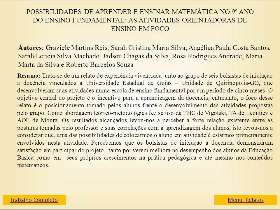 POSSIBILIDADES DE APRENDER E ENSINAR MATEMÁTICA NO 9º ANO