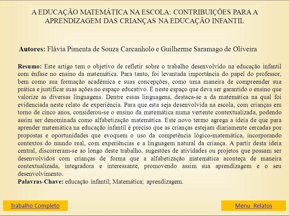 A EDUCAÇÃO MATEMÁTICA NA ESCOLA: CONTRIBUIÇÕES PARA A APRENDIZAGEM DAS CRIANÇAS NA EDUCAÇÃO INFANTIL