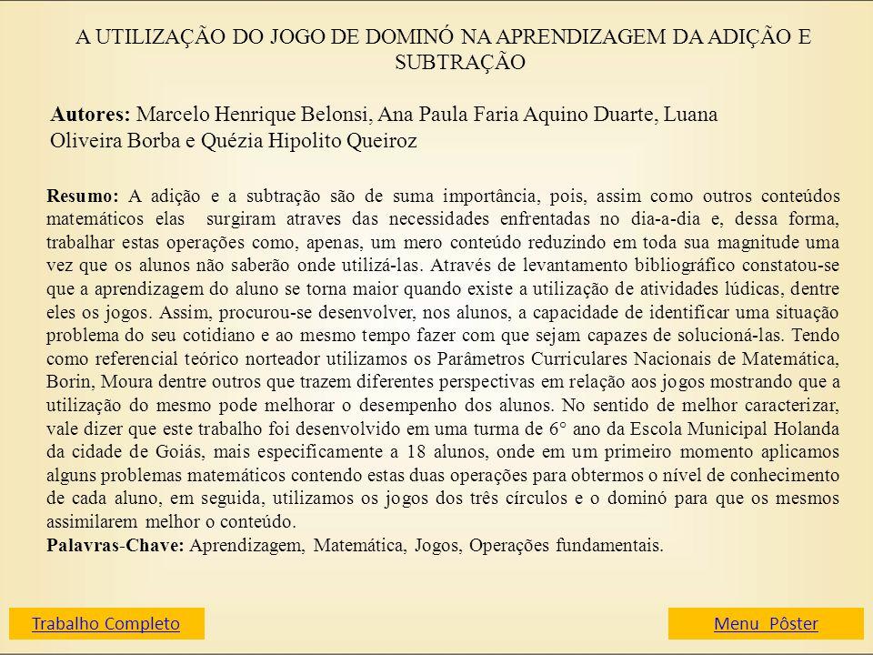 A UTILIZAÇÃO DO JOGO DE DOMINÓ NA APRENDIZAGEM DA ADIÇÃO E SUBTRAÇÃO