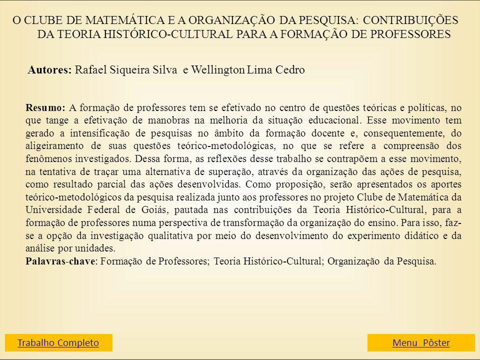Autores: Rafael Siqueira Silva e Wellington Lima Cedro