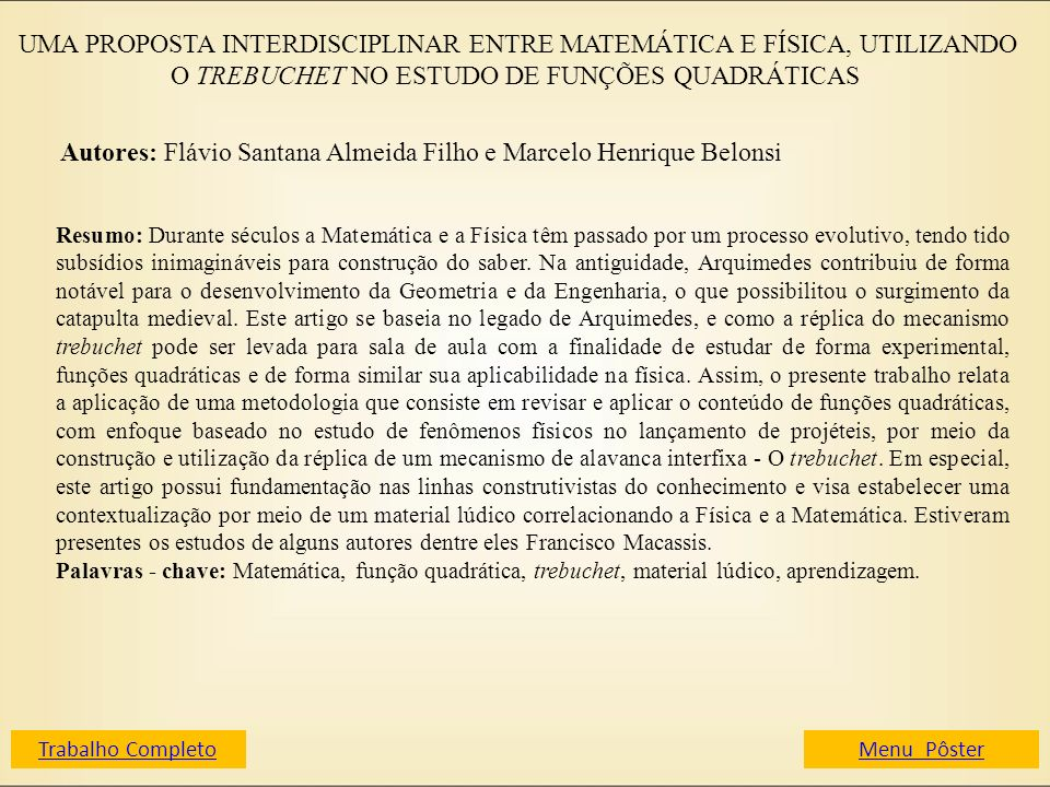 Autores: Flávio Santana Almeida Filho e Marcelo Henrique Belonsi