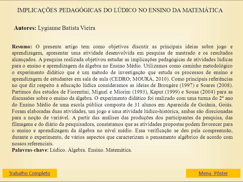 IMPLICAÇÕES PEDAGÓGICAS DO LÚDICO NO ENSINO DA MATEMÁTICA