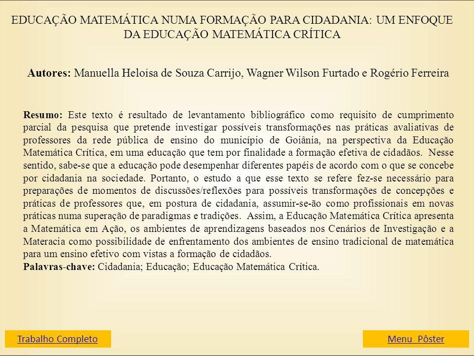 EDUCAÇÃO MATEMÁTICA NUMA FORMAÇÃO PARA CIDADANIA: UM ENFOQUE DA EDUCAÇÃO MATEMÁTICA CRÍTICA