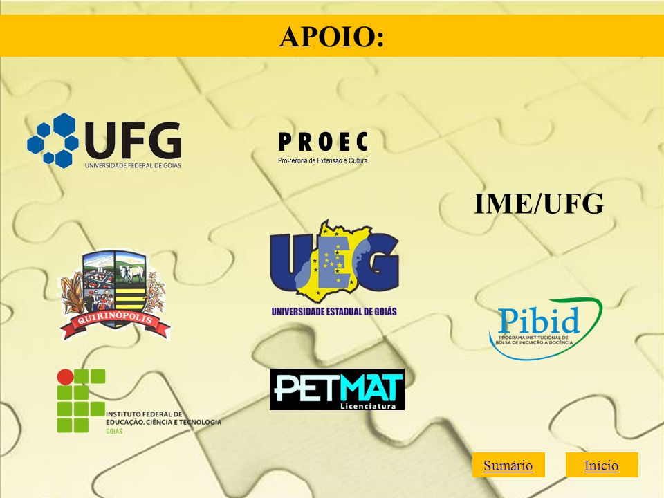 APOIO: IME/UFG Sumário Início
