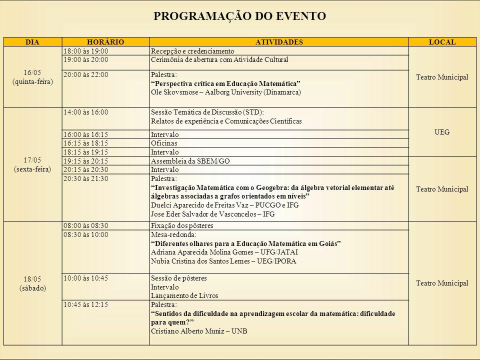 PROGRAMAÇÃO DO EVENTO DIA HORÁRIO ATIVIDADES LOCAL 16/05