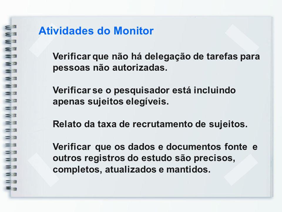 Atividades do Monitor Verificar que não há delegação de tarefas para pessoas não autorizadas.