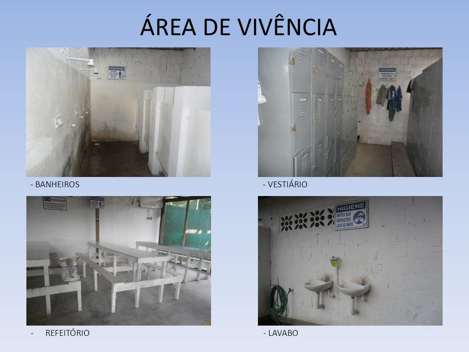 ÁREA DE VIVÊNCIA - BANHEIROS - VESTIÁRIO REFEITÓRIO - LAVABO