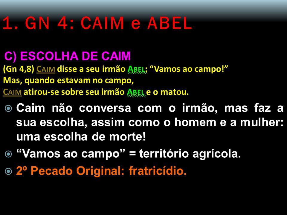 1. GN 4: CAIM e ABEL C) ESCOLHA DE CAIM