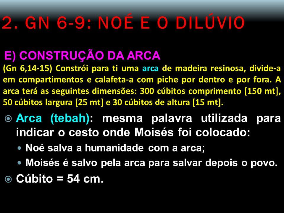 2. GN 6-9: NOÉ E O DILÚVIO E) CONSTRUÇÃO DA ARCA