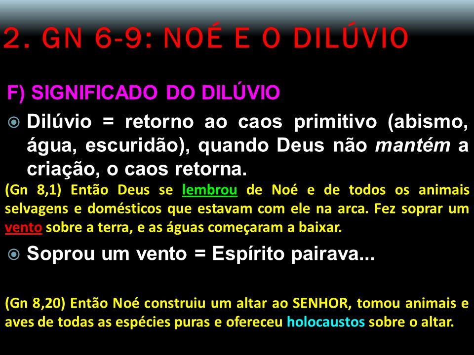 2. GN 6-9: NOÉ E O DILÚVIO F) SIGNIFICADO DO DILÚVIO