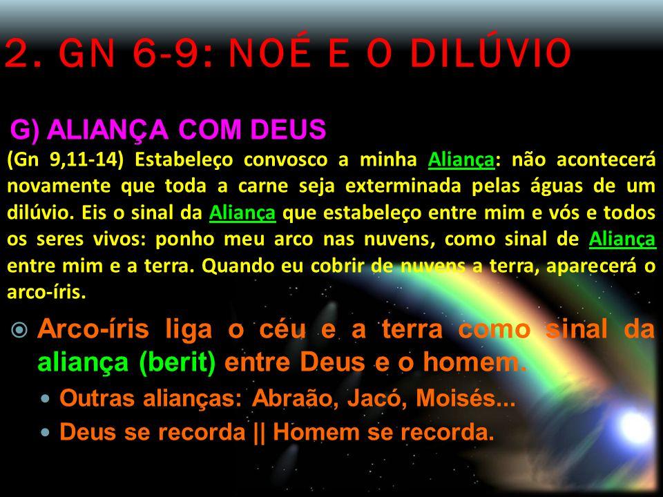 2. GN 6-9: NOÉ E O DILÚVIO G) ALIANÇA COM DEUS