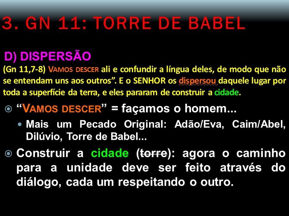 3. GN 11: TORRE DE BABEL D) DISPERSÃO
