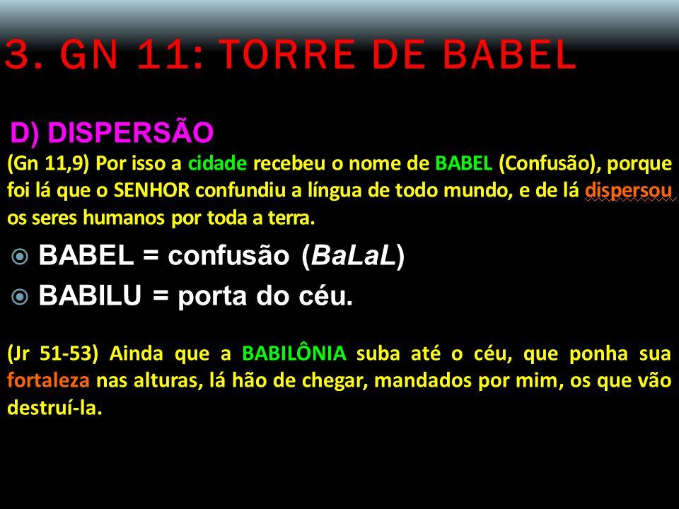 3. GN 11: TORRE DE BABEL D) DISPERSÃO BABEL = confusão (BaLaL)