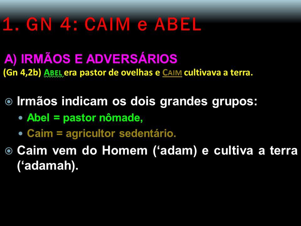 1. GN 4: CAIM e ABEL A) IRMÃOS E ADVERSÁRIOS