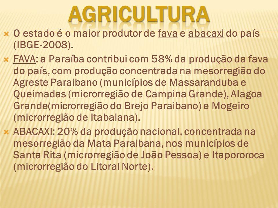 AGRICULTURA O estado é o maior produtor de fava e abacaxi do país (IBGE-2008).
