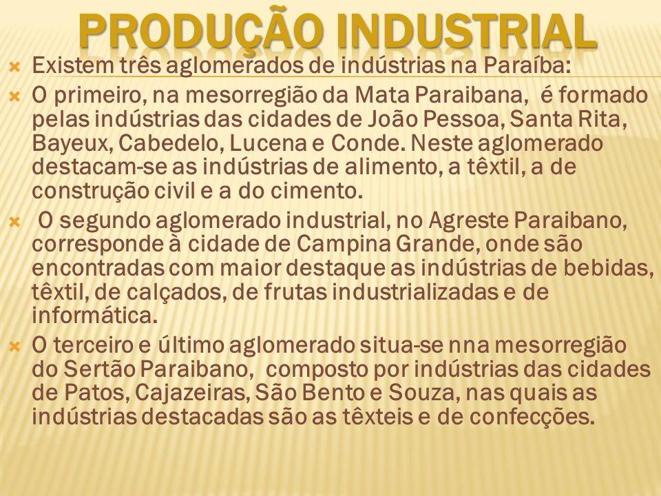 PRODUÇÃO INDUSTRIAL Existem três aglomerados de indústrias na Paraíba: