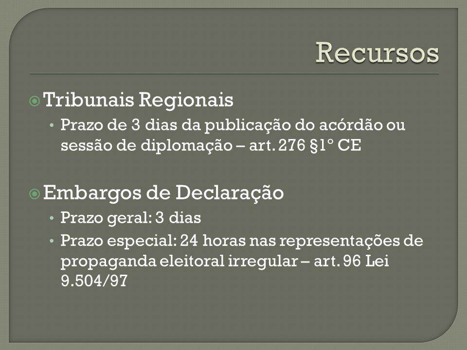 Recursos Tribunais Regionais Embargos de Declaração