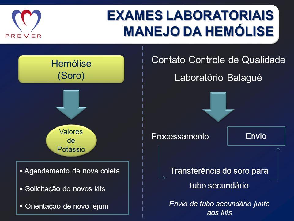 EXAMES LABORATORIAIS MANEJO DA HEMÓLISE