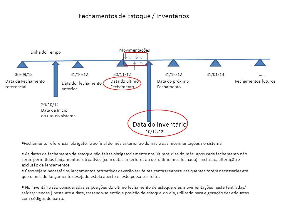 Fechamentos de Estoque / Inventários