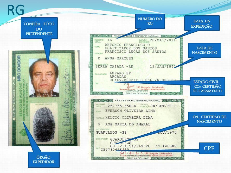 RG CPF NÚMERO DO RG DATA DA EXPEDIÇÃO CONFIRA FOTO DO PRETENDENTE