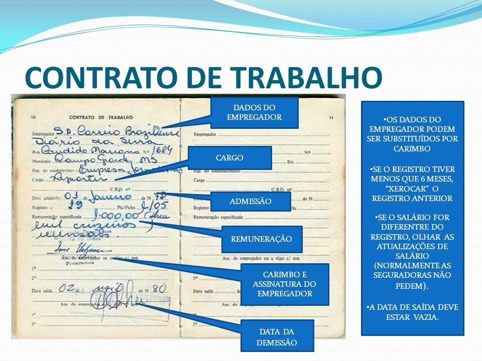 CONTRATO DE TRABALHO DADOS DO EMPREGADOR