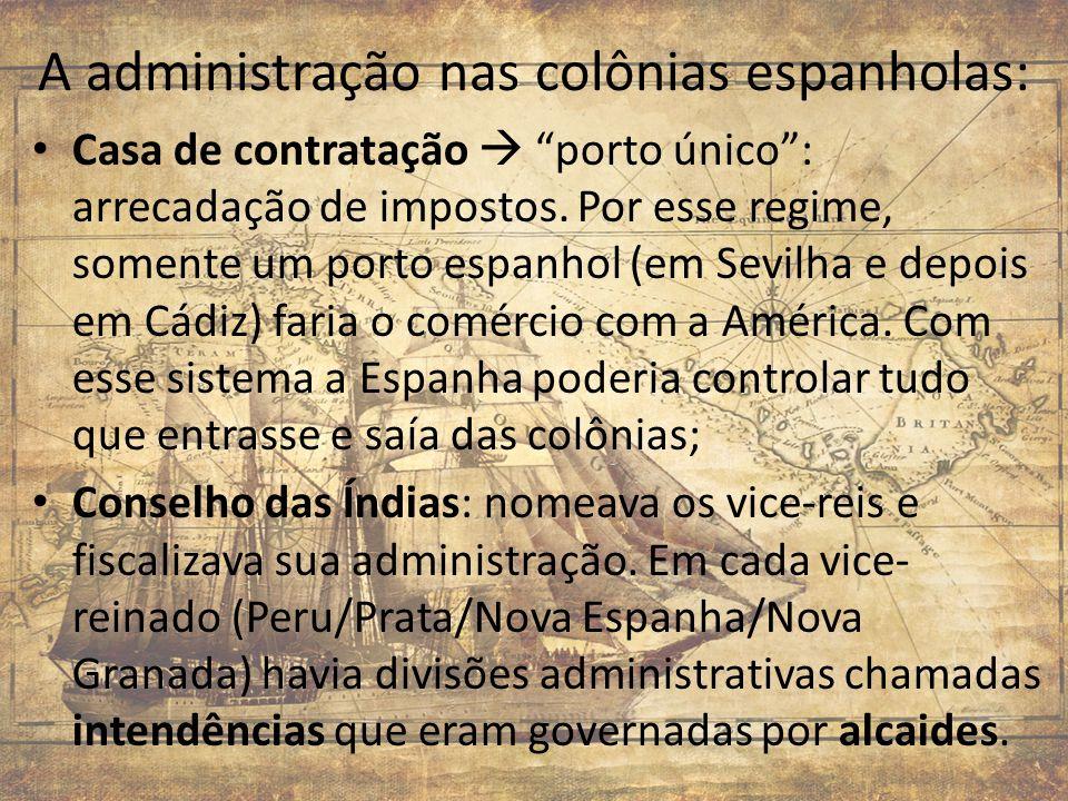 A administração nas colônias espanholas: