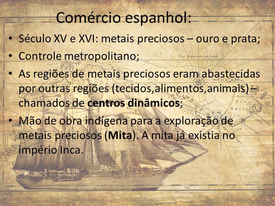 Comércio espanhol: Século XV e XVI: metais preciosos – ouro e prata;