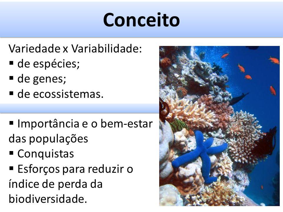Conceito Variedade x Variabilidade: de espécies; de genes;