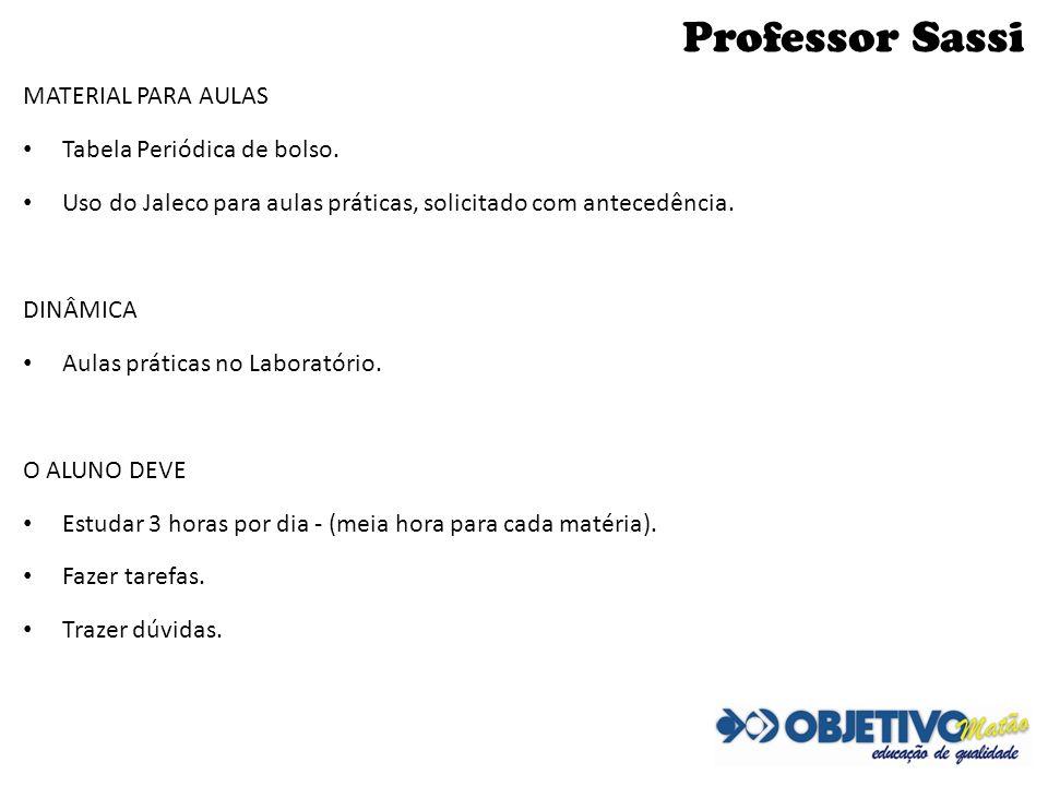 Professor Sassi MATERIAL PARA AULAS Tabela Periódica de bolso.
