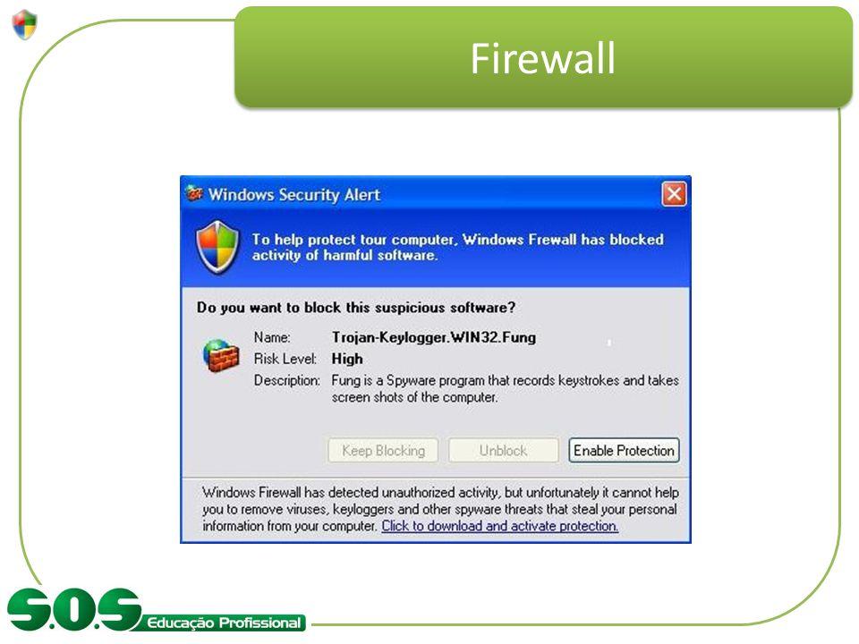 Firewall Exemplificar com a tela de solicitação de proteção, dizendo que um software esta tentando entrar.