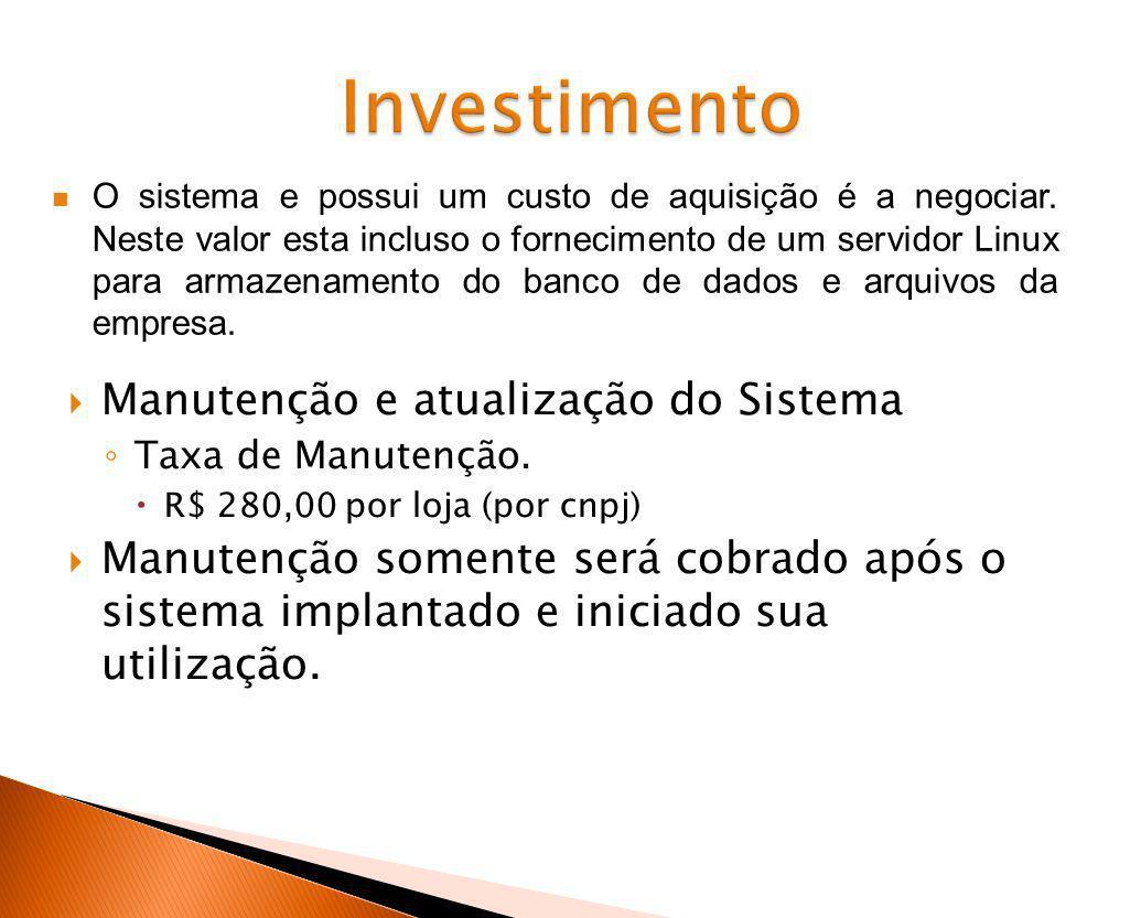 Investimento Manutenção e atualização do Sistema