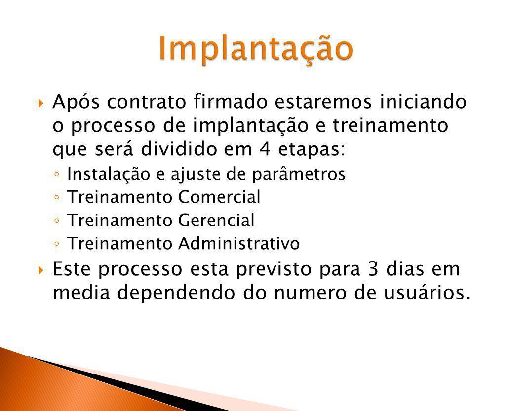 Implantação Após contrato firmado estaremos iniciando o processo de implantação e treinamento que será dividido em 4 etapas: