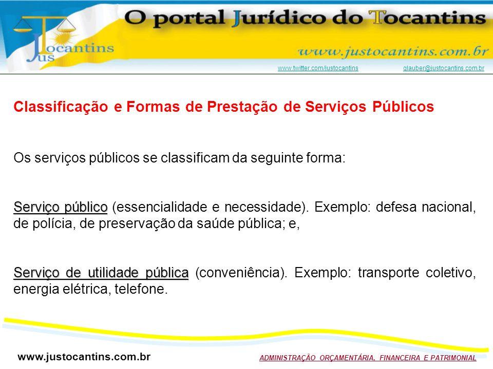 Classificação e Formas de Prestação de Serviços Públicos