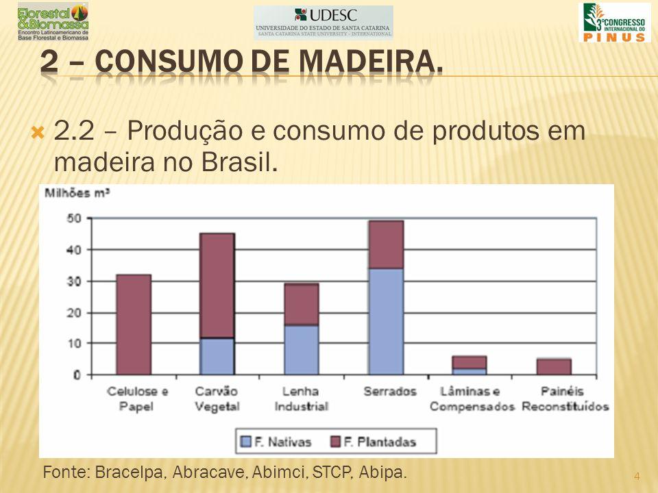 2 – consumo de madeira. 2.2 – Produção e consumo de produtos em madeira no Brasil.