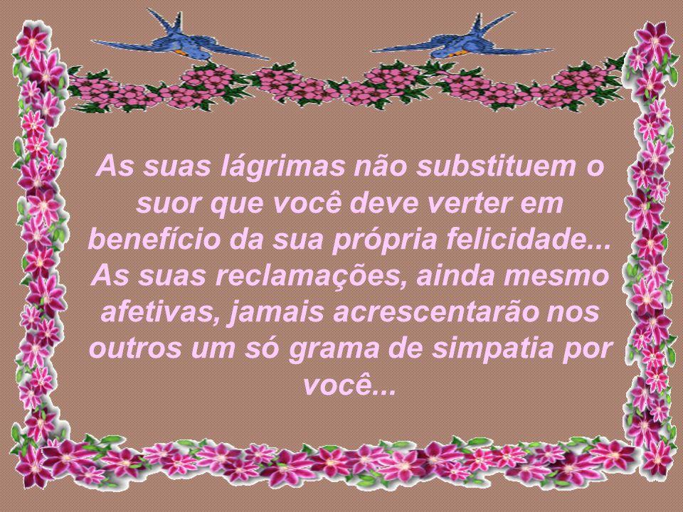 As suas lágrimas não substituem o suor que você deve verter em benefício da sua própria felicidade...