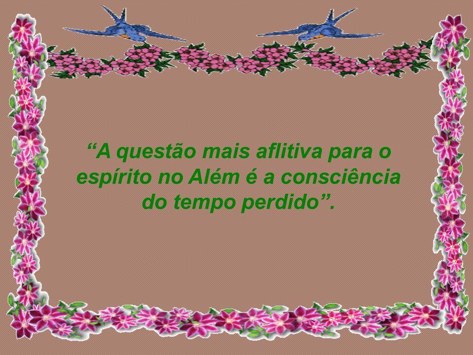 A questão mais aflitiva para o espírito no Além é a consciência do tempo perdido .