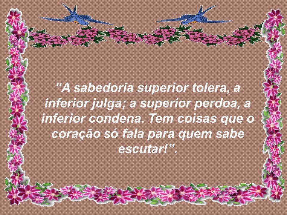 A sabedoria superior tolera, a inferior julga; a superior perdoa, a inferior condena.