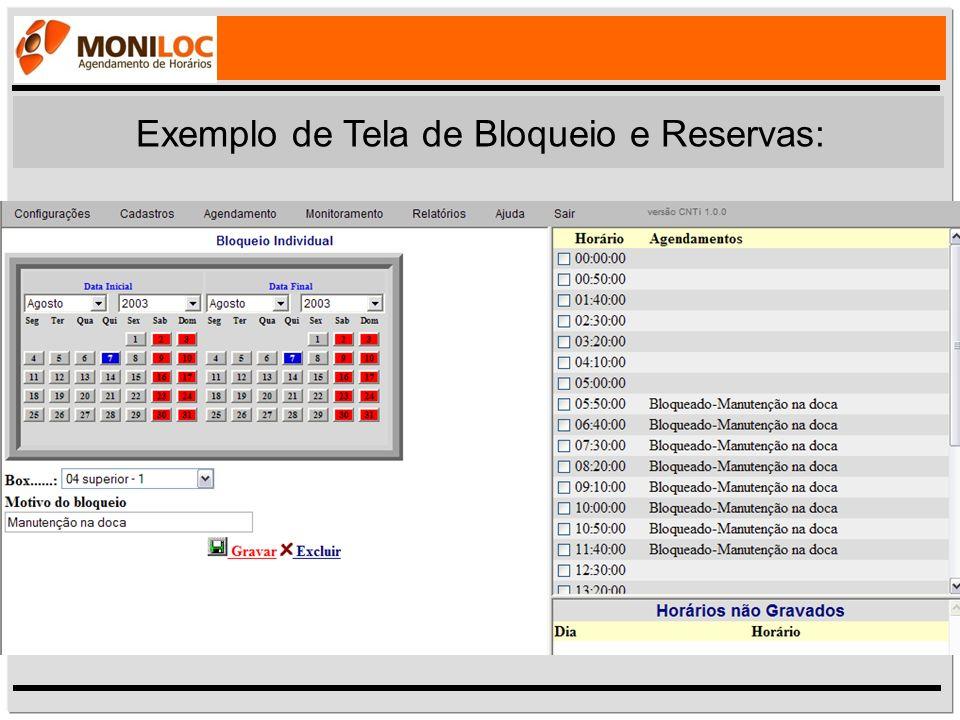 Exemplo de Tela de Bloqueio e Reservas: