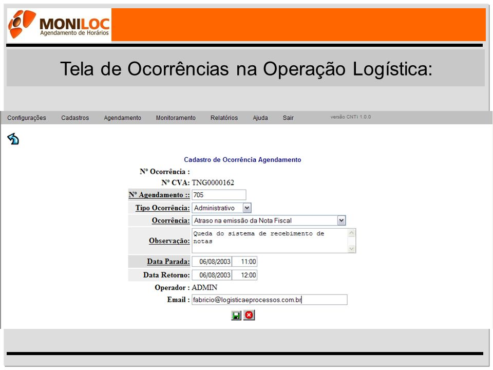Tela de Ocorrências na Operação Logística: