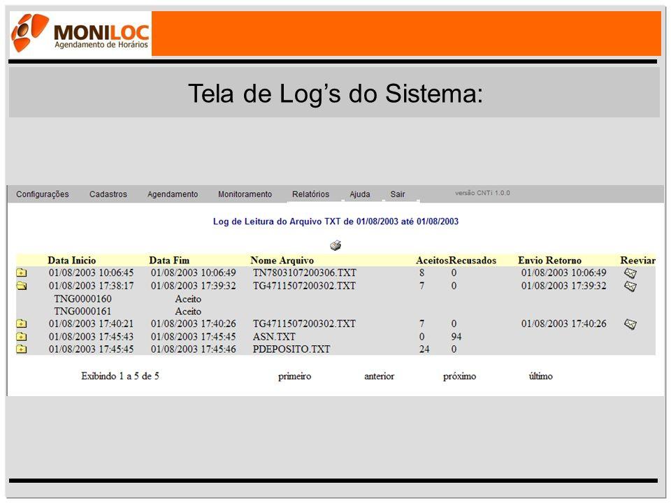 Tela de Log's do Sistema: