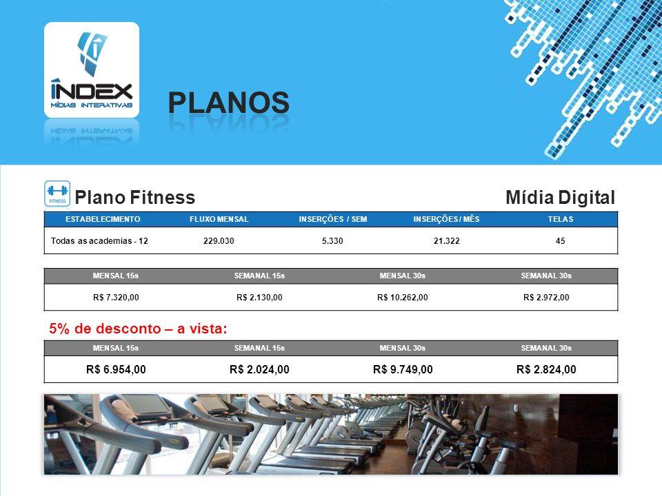 PLANOS Plano Fitness Mídia Digital 5% de desconto – a vista: