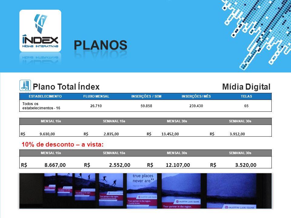 PLANOS Plano Total Índex Mídia Digital 10% de desconto – a vista: