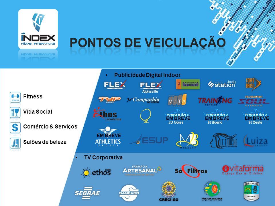 PONTOS DE VEICULAÇÃO Publicidade Digital Indoor Fitness Vida Social