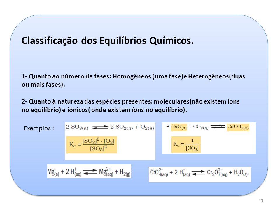 Classificação dos Equilíbrios Químicos.