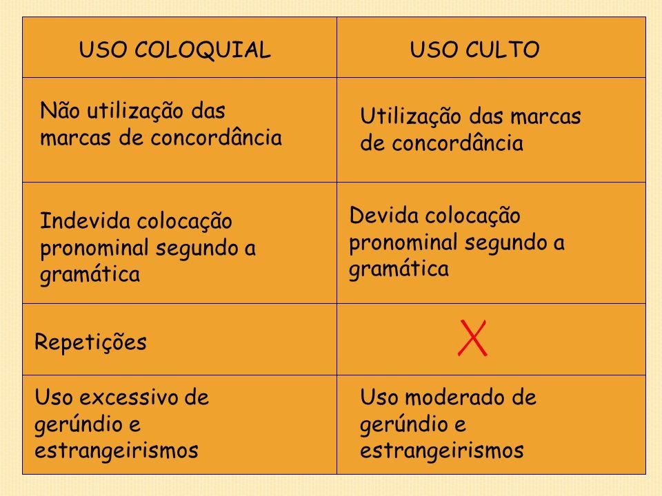 USO COLOQUIAL USO CULTO. Não utilização das marcas de concordância. Utilização das marcas de concordância.