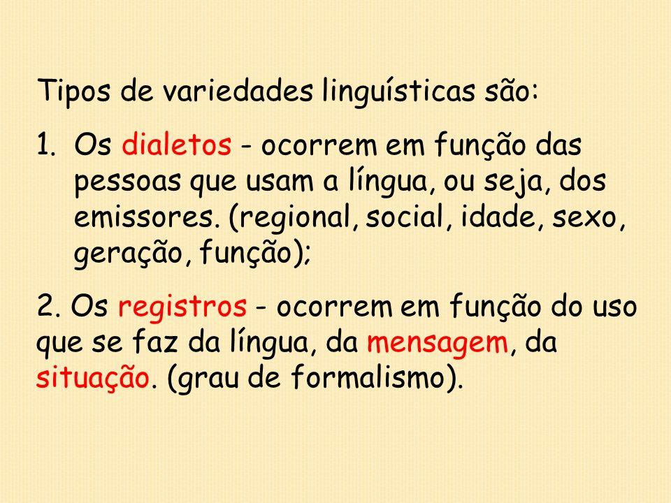 Tipos de variedades linguísticas são: