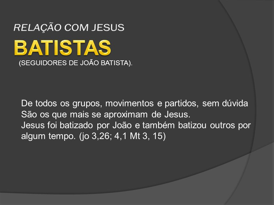 BATISTAS RELAÇÃO COM JESUS