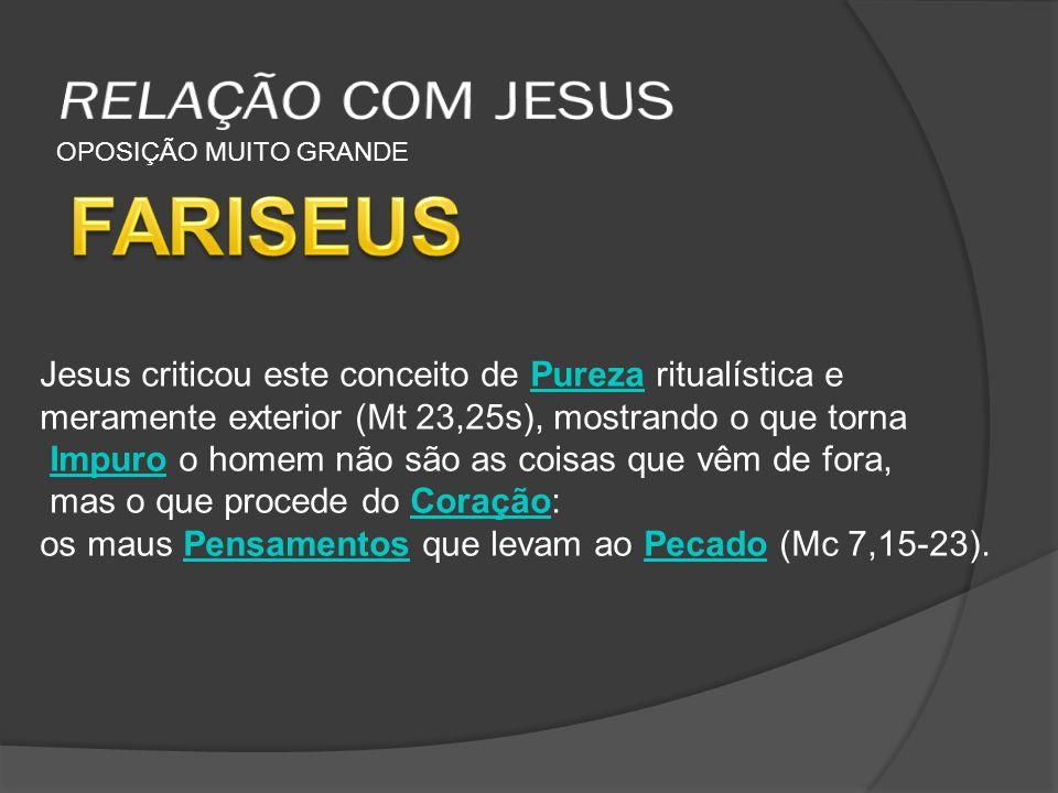 FARISEUS RELAÇÃO COM JESUS
