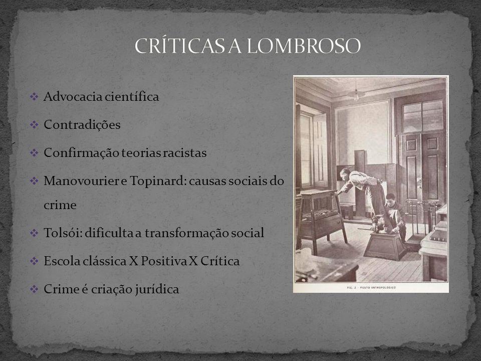 CRÍTICAS A LOMBROSO Advocacia científica Contradições