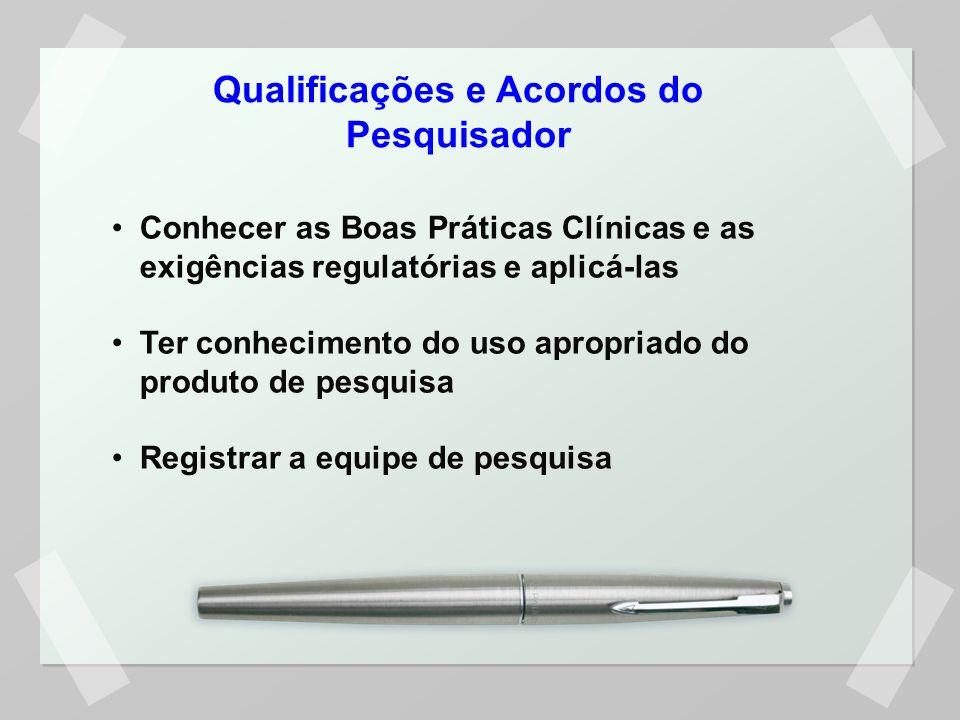 Qualificações e Acordos do Pesquisador